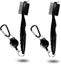 Golf Club Cleaning Brush and Groove Cleaner with Retractable Clip, Extends 2 ft Brass, Ergonomic Design, Easily Attaches to Golf Bag, Nylon and Spike Cleaning Tool
