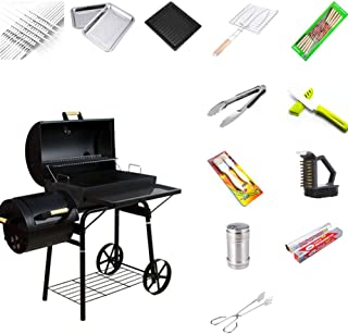 BBQ Grill Charcoal Barbecue Grill Home Meat Cooker Smoker with Offset Smoker and Fold-Down Shelf, Outdoor Picnic Camping G...