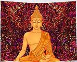 Amiiba Shakyamuni - Tapiz de pared, diseño psicodélico, colorido para colgar en la pared, budismo indio, decoración del hogar para dormitorio, sala de estar (149 x 129 cm)