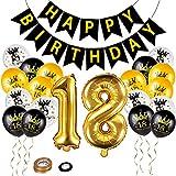 Herefun 18 Años Globos Cumpleaños, 18 Años Números Globos de Papel de Aluminio, Globos de Confeti Globos de Latex Cumpleaños, Kit de Globos, Cumpleaños Decoración de Fiesta para Hombre Mujer