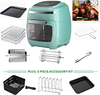 GoWISE USA 11.6-Quart Air Fryer Oven with Rotisserie and Dehydrator Functions + 8 Piece Accessory Set + 3 piece Accessory Kit+ 50 Recipes, Vibe (Mint)