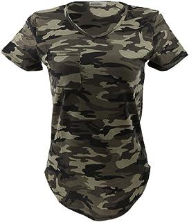 1b9082427c842 Femmes Blouse Casual Col-V Tops T-shirt à Manches Courtes Motif Camouflage  Militaire
