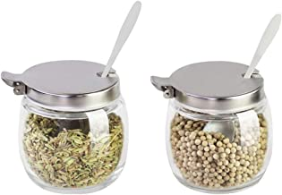 BESTONZON 2PCS Spice Jars Round Glass Condiment Jars Container Salt Shakers with Stainless Steel Lid and Spoon