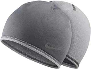 NIKE Thermal Reversible Running Hat and Glove Set Reflective Joggers Beanie Sport Skully (Wolf Cool Grey) MEN'S SMALL