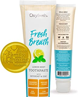 Oxyfresh Maximum Fresh Breath Lemon Mint Toothpaste - Low Abrasion, Fresh Breath, SLS Free, Gum Soothing, Alcohol Free w/Essential Oils - Dentist Recommended- 5.0oz