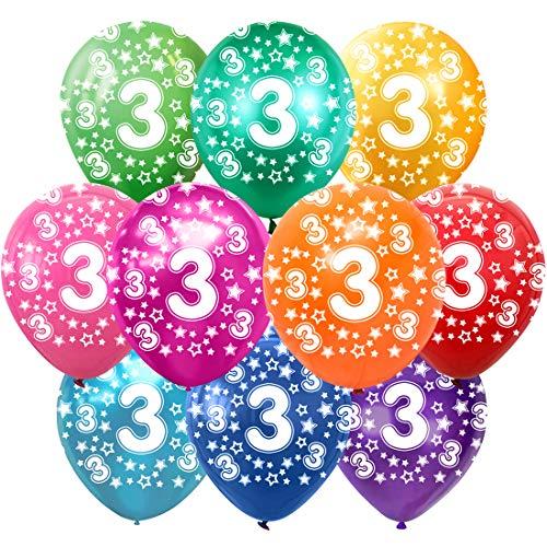 3 Cumpleaños Globos Decoracion Cumpleaños 3 Años Globos de látex, 30 cm, Colores Surtidos, Paquete de 30