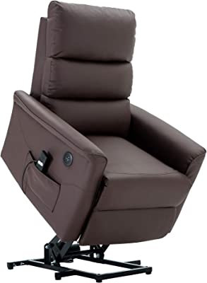 Electric Power Lift Recliner Chair TUV Lift Motor PU Leather Sofa Lounge Handle Corded Remote Control