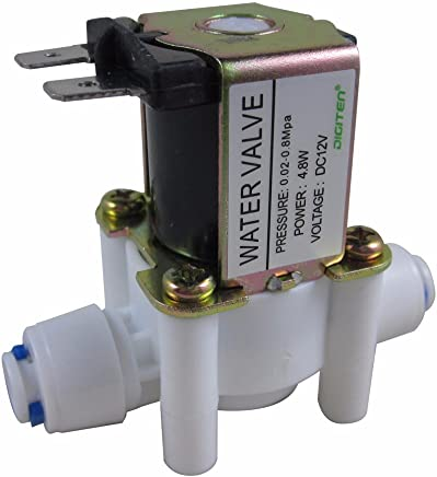 """DIGITEN DC 12V 1/4"""" Inlet Feed Water Solenoid Valve Quick Connect N/C Normally Closed"""
