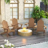 Adirondack Chair Set of 4, Brown Lifetime Poly Adirondack Chairs with Cup Holder, 350LBS Modern Adirondack Chair Weather Resistant, Outdoor Patio Chair for Fire Pit, Patio, Law, Balcony, Backyard
