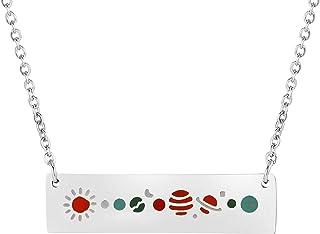 قلادة من KUIYAI بتصميم النظام الشمسي وفلك قلادة مجرة بلانيت مجوهرات الكون هدية لمحبي الفلك