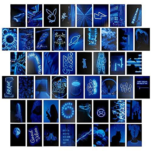 Wandcollage, 50 Stück Aesthetic Bilder Set, Ästhetik Kit, Sommer Wandcollage Set Aesthetic, Aesthetic Bilder für Wand, Retro Raumdekoration für Mädchen, Dunkle Blau Wandcollage