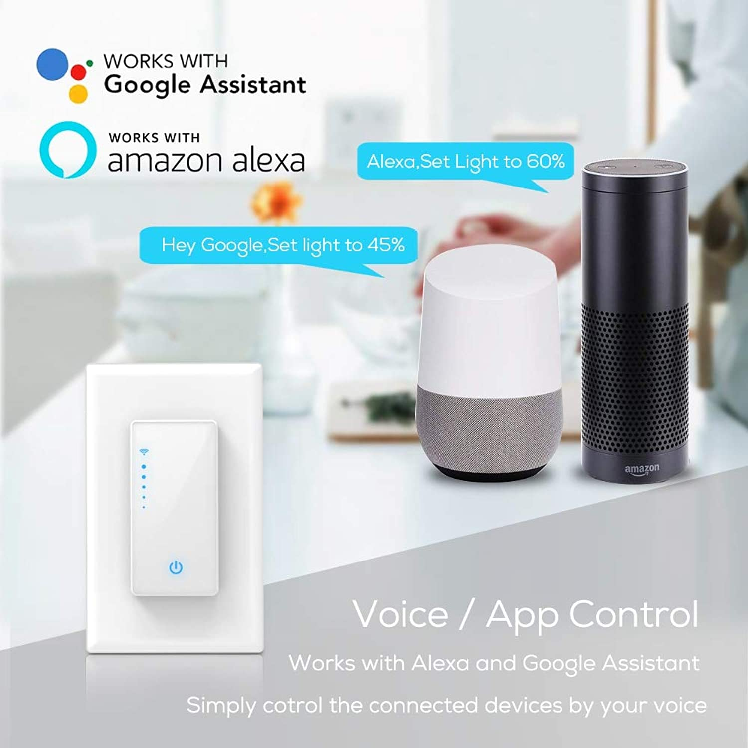 Wall-in Smart Switch for Smart Life Dimmable WiFi Switch APP Phone Remote Control Compatible for Alexa Google Assistant IFTTT(Standard  US Standard)