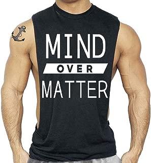 Interstate Apparel Inc Mind Over Matter Gym T-Shirt Bodybuilding Workout Tank Top Men's Black