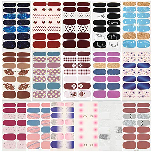 16 Blatt Nagelsticker Selbstklebend Nagelaufkleber Nail Art Sticker Nagel Abziehbilder DIY Nagel Kunst Dekoration