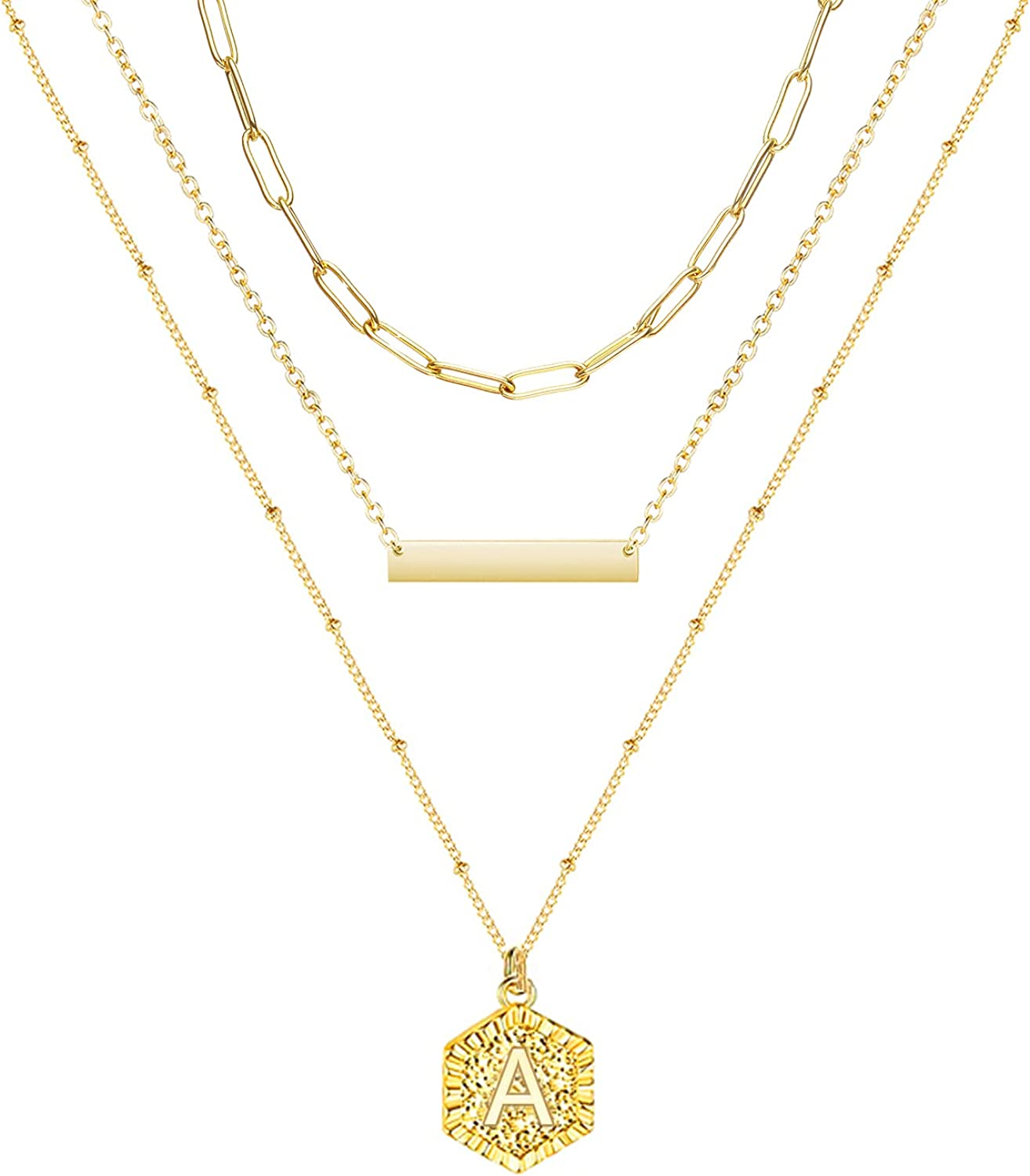 YANCHUN Layered Initial Necklaces for Women 3Pcs Gold Paperclip Chain Bar Choker Necklace Cute Hexagon Charm Pendant Necklaces for Teen Girls
