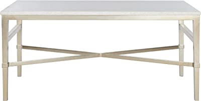Safavieh American Homes Collection Acker Antique Silver & White Marble Couture Cocktail Table