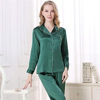 WAWAYU Pijamas de Mujer, Pijamas for Mujer se adaptan a Largo y pantalón Seda Pijama Conjuntos de Pijamas más tamaño Pijama Home Traje Hembra Real Seda Pijama Pajar Ropa de Dormir