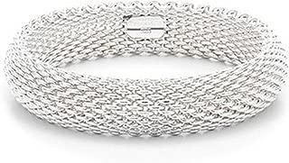 Bracelet 925 Sterling Silver Plated Jewelry Sideway Big Flat Link Chain Mesh Bangle Bracelet for Women