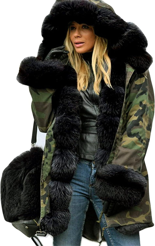 JINLILE Trench Puffer Coat Winter Women Long Windbreaker Jacket Plus Size Lightweight Faux Fur Warm