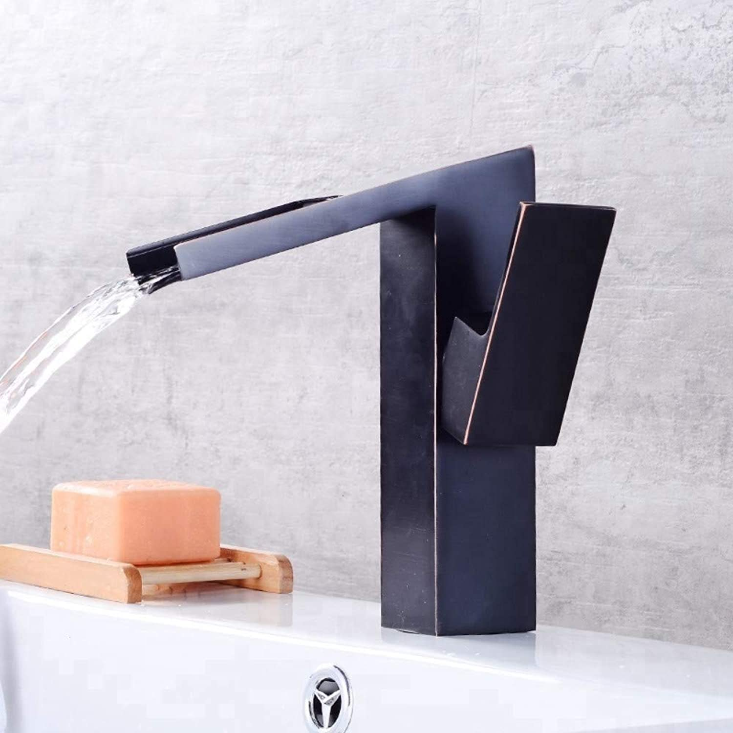 Bathroom Sink Tap Basin Sink Mixer Tap Single Handle Hot Cold Water Waterfall Faucetblack Brass Bathroom Wash Basin Faucet