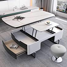 Modern Marble Coffee Table with Lift Top - Dining Table with Hidden Compartment and Storage Drawer - Accent Elegant Wood L...