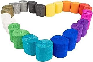 Lot de 24 rouleaux de papier crépon - 12 couleurs - 10m par rouleau - 5 cm de large - 17g/m², Papier de bricolage