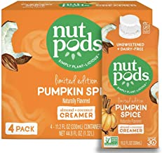 product image for nutpods Pumpkin Spice, (4-Pack), Unsweetened Dairy-Free Creamer, Made from Almonds and Coconuts, Whole30, Gluten Free, Non-GMO, Vegan, Kosher