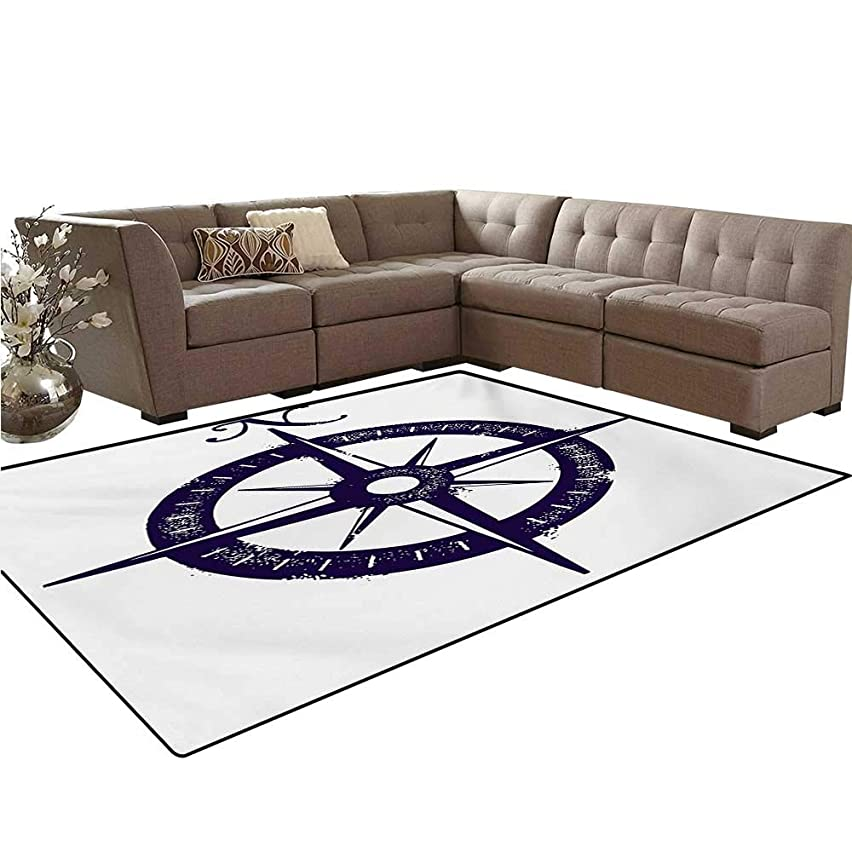 Compass Kids Carpet Play-mat Rug Sailing Compass with a Giant Symbol on with a Windrose Dark Purple Tones Room Home Bedroom Carpet Floor Mat 6'6