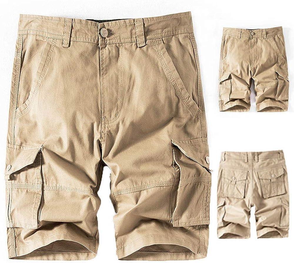 MODOQO Men's Cargo Shorts,Simple Fashion Khaki Loose Multi-Pocket Beach Work Short Trouser