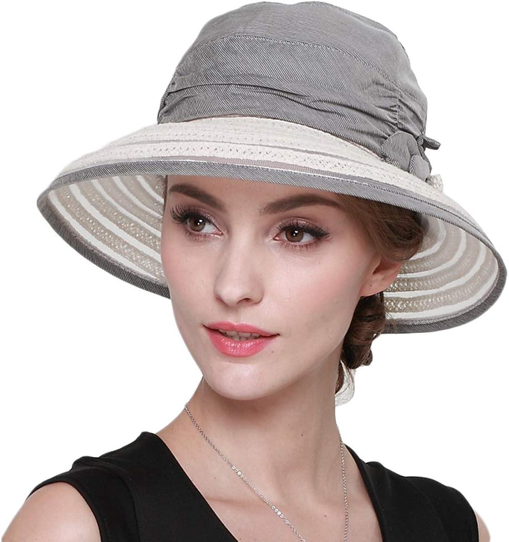 Women's Sun Hat, Summer UV Sun Visor Foldable Outdoor Travel Wide Beach Hat, Adjustable Bucket Cap