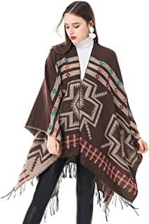 Women's Scarf, Ladies Fashion Scarf Ethnic Style Geometric Print Tassels Open Cloak Autumn and Winter Thick Travel Shawl Warm Scarf Size 152X130x8cm
