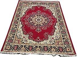 Flora Rugs & Rugs Super Soft Carpet for Living Room & Bedroom Size - 5 X 7 Ft (Beige & Red)