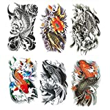 Yesallwas Large Temporary Tattoo Sticker Fake Tattoos ,waterproof Long Lasting Body Art Makeup Sexy Realistic Arm tattoos - koi Fish Tattoos, Lotus,Gold carp tattoo
