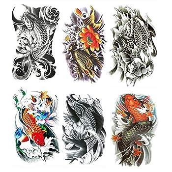 Yesallwas Large Temporary Tattoo Sticker Fake Tattoos ,waterproof Long Lasting Body Art Makeup Sexy Realistic Arm tattoos - koi Fish Tattoos Lotus,Gold carp tattoo