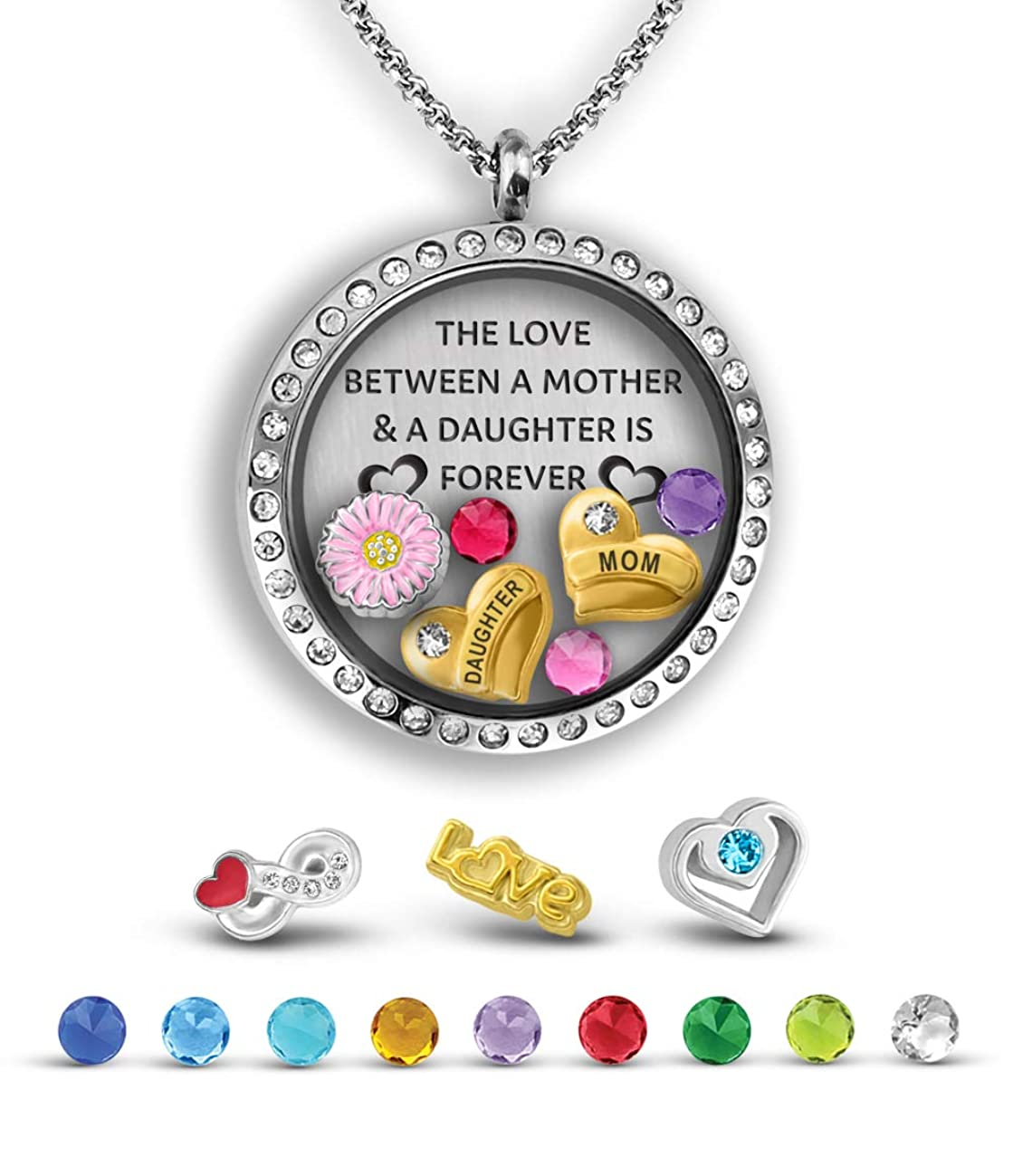 A Touch of Dazzle Mother Daughter Necklace for Mom from Daughter The Love Between a Mother and Daughter is Forever Necklaces for Women Locket Necklace for Women Mom Gifts Ideas Mom Jewelry for Women