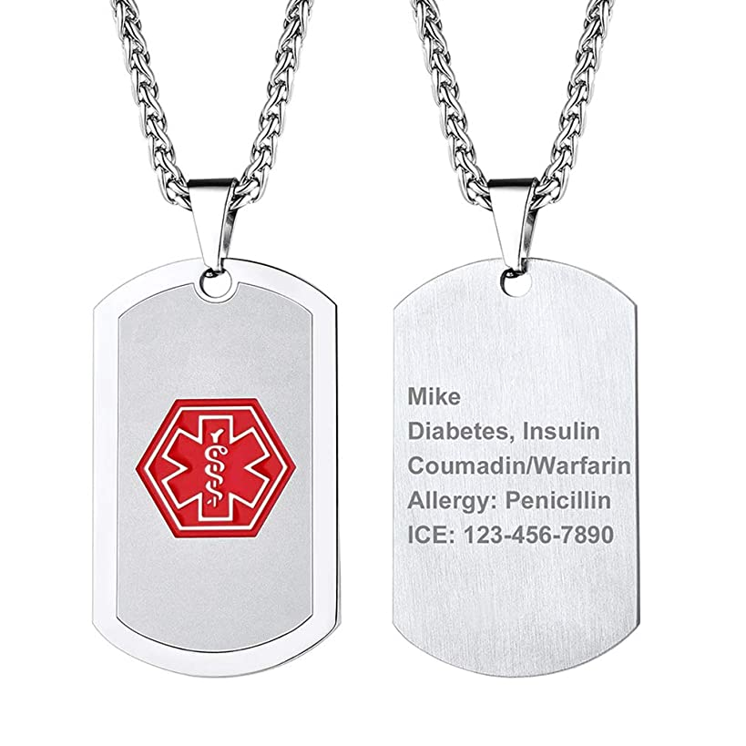 Supcare Tag Necklace Pendant Medical Alert ID Jewelry Stainless Steel for Women/Men/Children, Medical Emergency Identification Dog Tag Necklace Jewelry …
