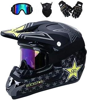 Motorrad Enduro Helm Motorradhelm mit Brille Maske Handschuhe und Helmhaken Full Face MTB Helm f/ür Mountainbike VTA Schneemobil Damen Herren PKFG/® Motocross Helm Kinder