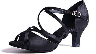 Syrads Chaussures de Danse Latine Femmes Salsa Bachata Moderne Tango Valse Chaussures Danse De Salon - Noir - 36 EU