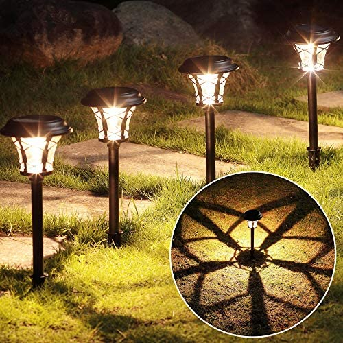 MAGGIFT 6 Pack 25 Lumen Solar Powered Pathway Lights Super Bright SMD LED Outdoor Lights Stainless product image