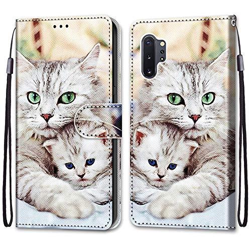 ShinyCase para Samsung Galaxy Note10 Plus Funda Piel PU Brillante Diseño Protector Folio Plegable Funda Cuero Tarjetas y Billetera Magnético Estuches para Galaxy Note10 Plus/Note10 Pro Gato y Gatito