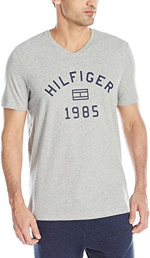 Tommy Hilfiger Mens T-Shirt V-Neck Classic Fit Tee Short Sleeve Flag Logo New