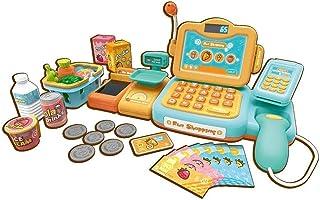 24個の子供のスーパーマーケットのレジのおもちゃ、子供の早期教育ふりプレイグッズ、赤ちゃんシミュレーションキャッシャーグッズ(色:黄色、サイズ:33.5 * 13 * 14 cm)
