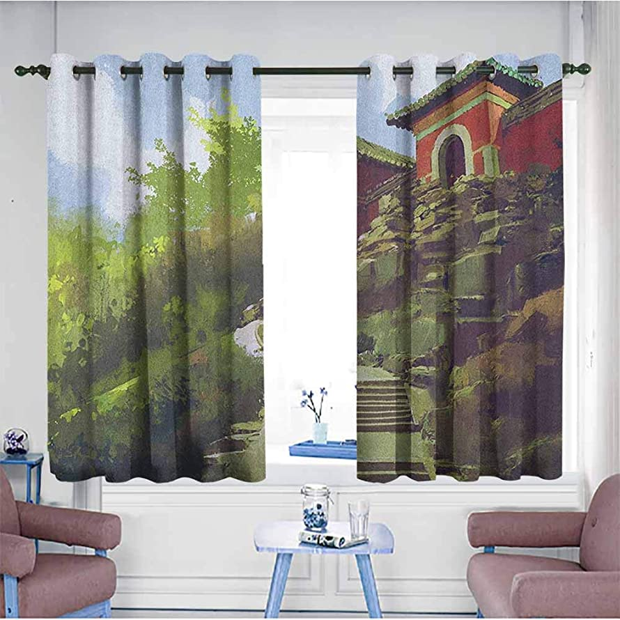 HOMEDD Blackout Curtains,Ancient China Watercolor Painting Scenery of Ancient House on a Hill with Stone Stairway,Room Darkening, Noise Reducing,W72x63L Multicolor