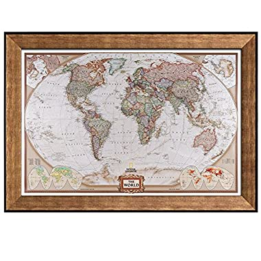 Benjamin johnson megan millers wedding registry wall26 colorful national geographic antique world map framed art prints home decor gumiabroncs Image collections