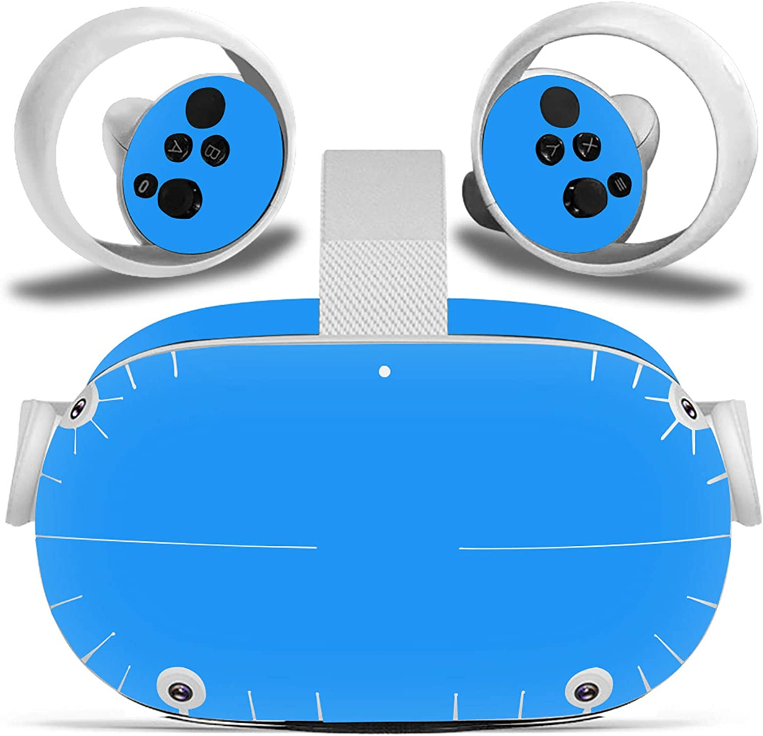 Vinyl Decal Stickers for Quest 2 Headset and Controller Cute Graphic Wrap Cover Skin to Customize The Oculus Bright & Vibrant Protective Fitment Adds Unique Style to VR Devices-Pure Blue