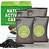 Elemake Charcoal Bags Odor Absorber 4 Pack*200g, Charcoal Air Purifying Bag with Coconut Shell Activated Charcoal, Moisture Absorbers, Car Air Freshener, Shoe Deodorizer, Odor Eliminator for Strong Odor, Home, Pet, Closet