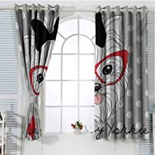 FreeKite Yorkie Black Out Window Curtain 2 Panel Tilted Head Terrier I Love My Yorkie Red Nerd Glasses Love Heart Polka Dots Living Room Curtains for Bedroom W72 x L84 Inch Black White Red