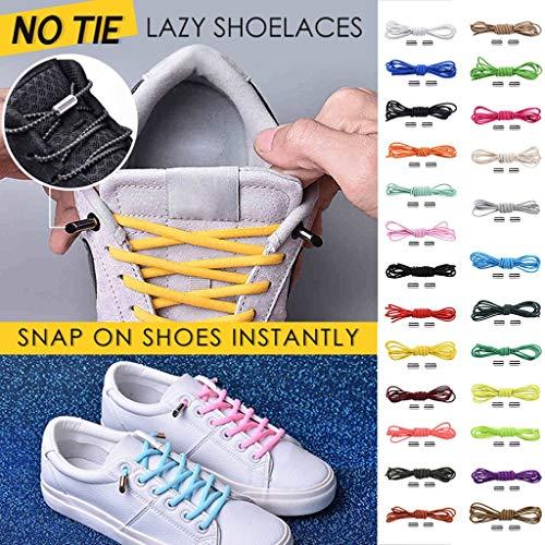 No Tie Shoelaces Rundsenkel für Erwachsene,Binggong Elastische Silikon Schnürsenkel flach Schleifenlose Schuhbänder ohne Binden für Sneaker Stiefel