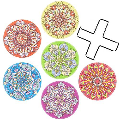 SUEH DESIGN Ceramica Sottobicchieri Set di 6, Decorativi Originali Mandala Antiscivolo Resistente Bevande Sottobicchieri con Supporto per Birra, Caffè, Cucina, Boccale, Vino, Tazze