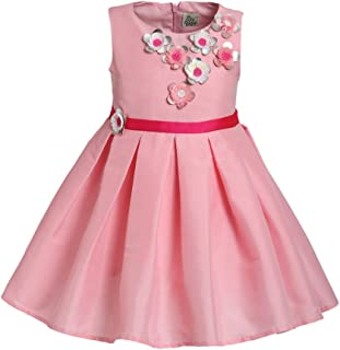 A Little Fable Girls Party Dress Pink Glazed Flower, Sleeveless - Pink